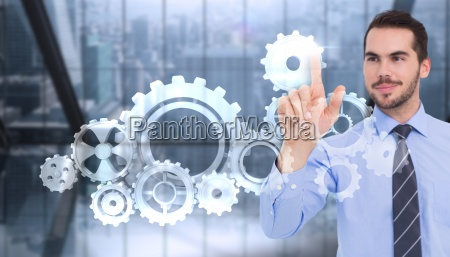 composite image of happy businessman standing