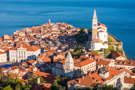 sunlit old town of piran in