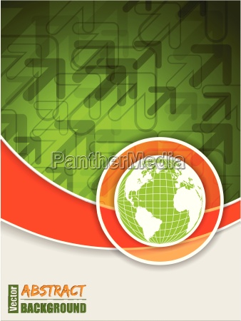 abstract orange green brochure with globe