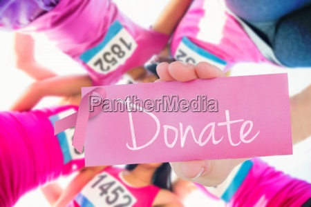 donate against five smiling runners supporting
