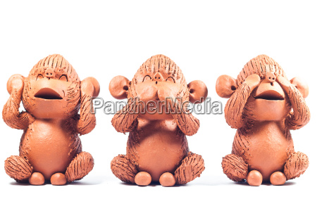 close up monkey clay dolls isolated