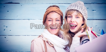 composite image of smiling women looking