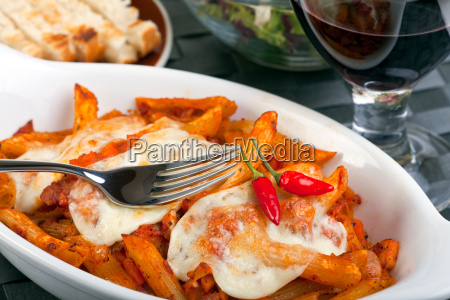 rigatoni with tomato sauce and melted