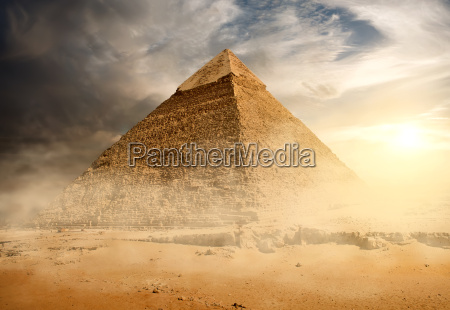 pyramid in sand dust