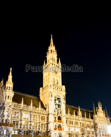 illuminated town hall of munich