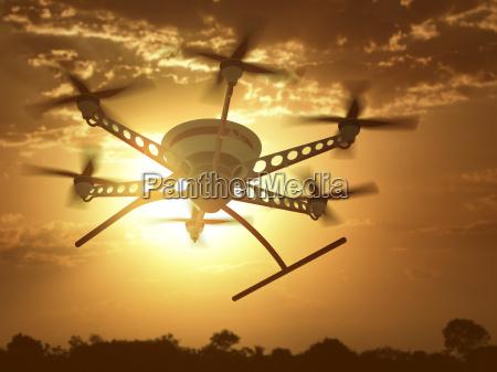 drone sunset