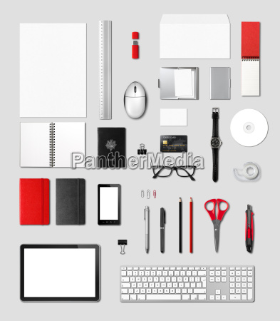 office supplies mockup template grey background