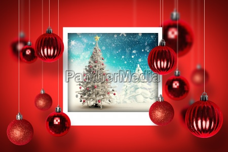 composite image of christmas tree in