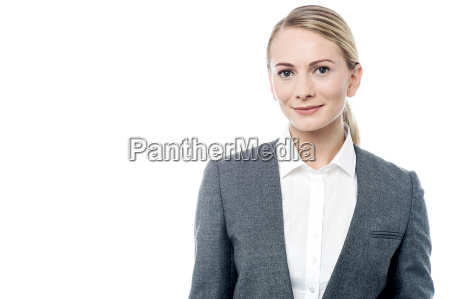 corporate woman posing casually