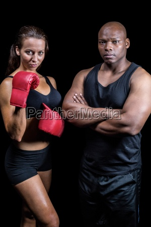 portrait of male and female athletes