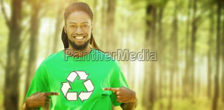 composite image of happy environmental activist