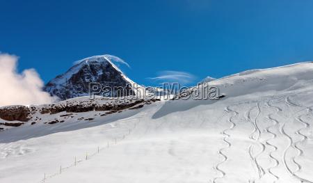 ski slope in the background of