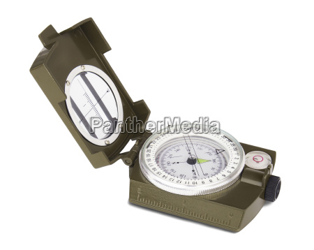opened military compass isolated on