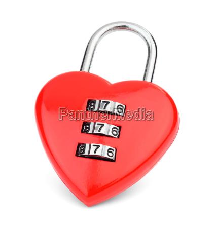 red metallic lock in the shape
