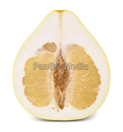 half yellow ripe pomelo fruit