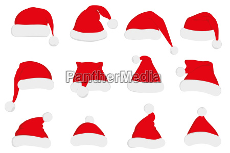 santa claus red hat set on