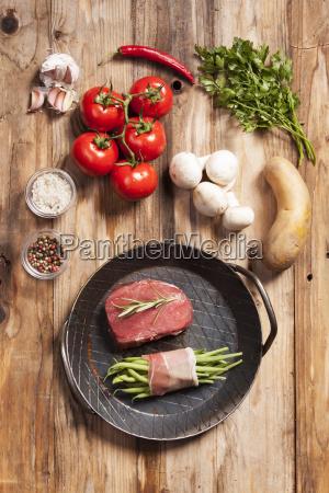 raw steak in a iron pan