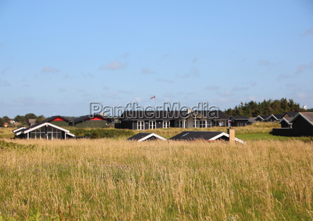 danish summer houses in hills with