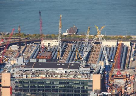 skyscraper building site in aerial perspective