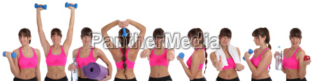 collage fitness woman in sports workouts