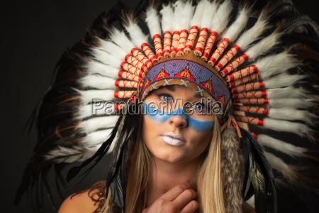 female chieftain feather headdress
