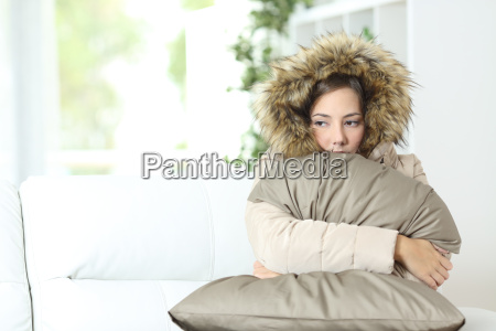 woman warmly clothed in a cold