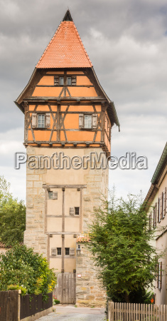 historic watch tower in dinkelsbuehl