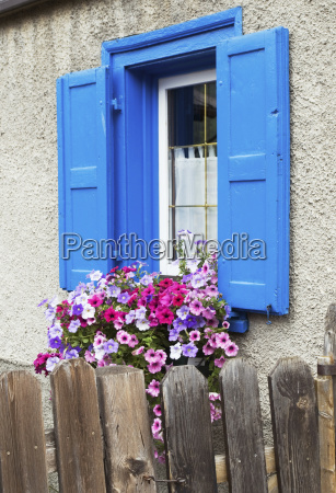 rural house with blue window and