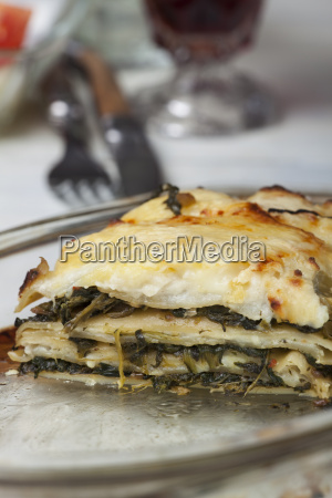 spinach lasagne on a glass plate