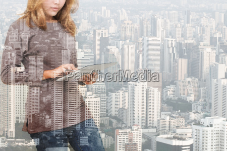 double, exposure, of, woman, using, tablet - 15752004