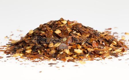 dried chili pepper in a pile