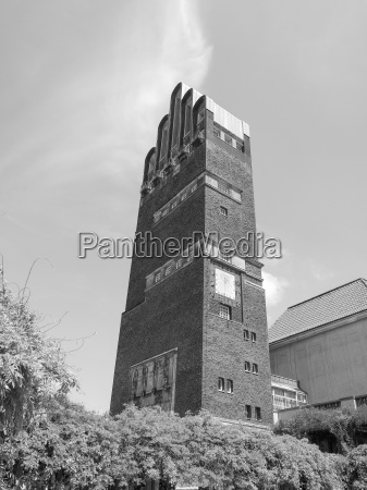 black and white wedding tower in