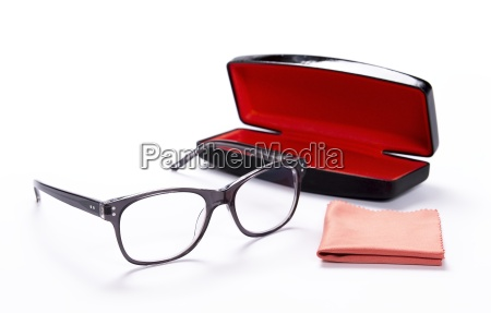 spectacles with cleaning cloth and case
