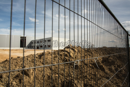 construction site with a fence around