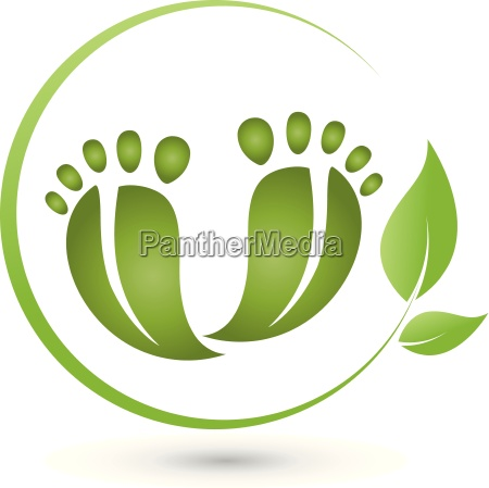 two, feet, and, leaves, logo, pedicure - 15767788