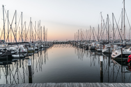 groemitz harbor yachthafen at sunrise with