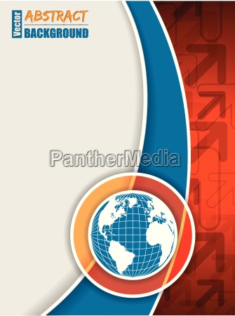 orange blue brochure with arrows and