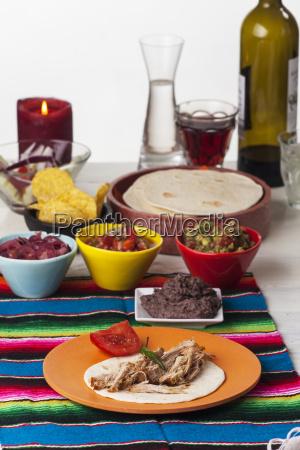 mexican cochinita pibil with tortilla