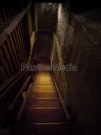 an, old, hazardous, wooden, staircase, leads - 15770596