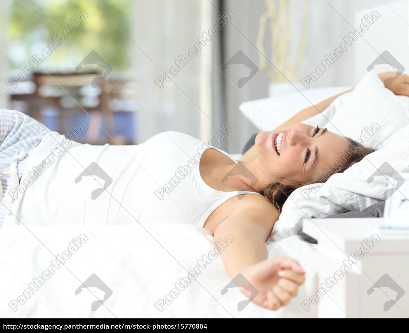 girl, waking, up, stretching, arms, on - 15770804