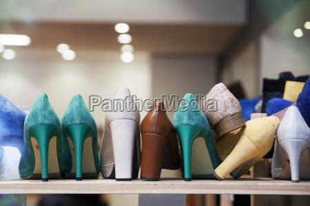 high heels in the shoe store