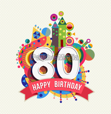 happy birthday 80 year greeting card