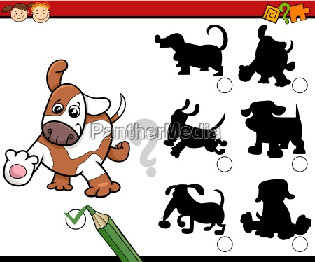 shadows task cartoon with dogs