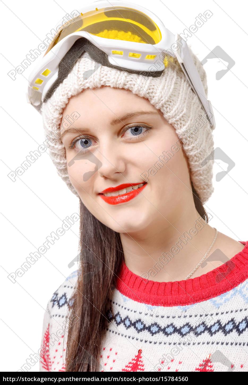 beautiful, woman, wearing, goggles, in, winter, - 15784560