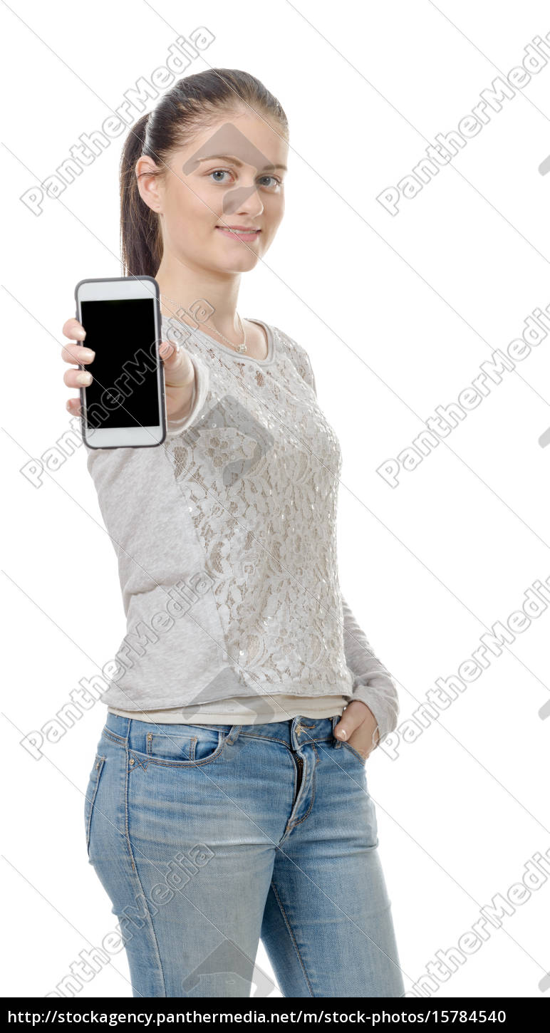 happy, young, woman, showing, blank, smartphone - 15784540