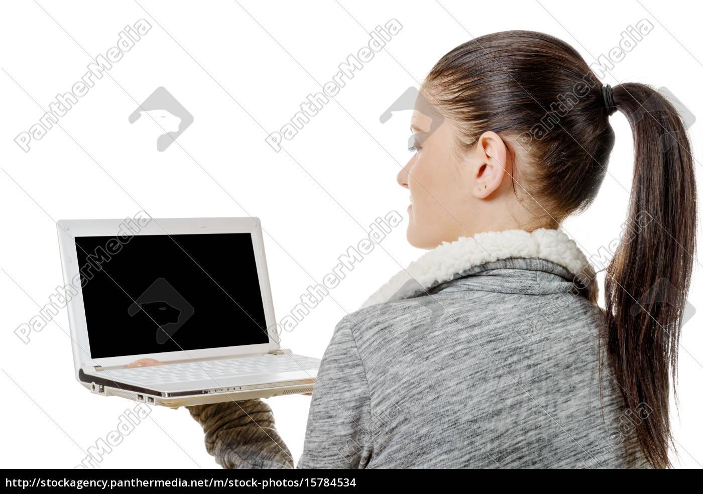 portrait, of, beautiful, girl, using, laptop - 15784534