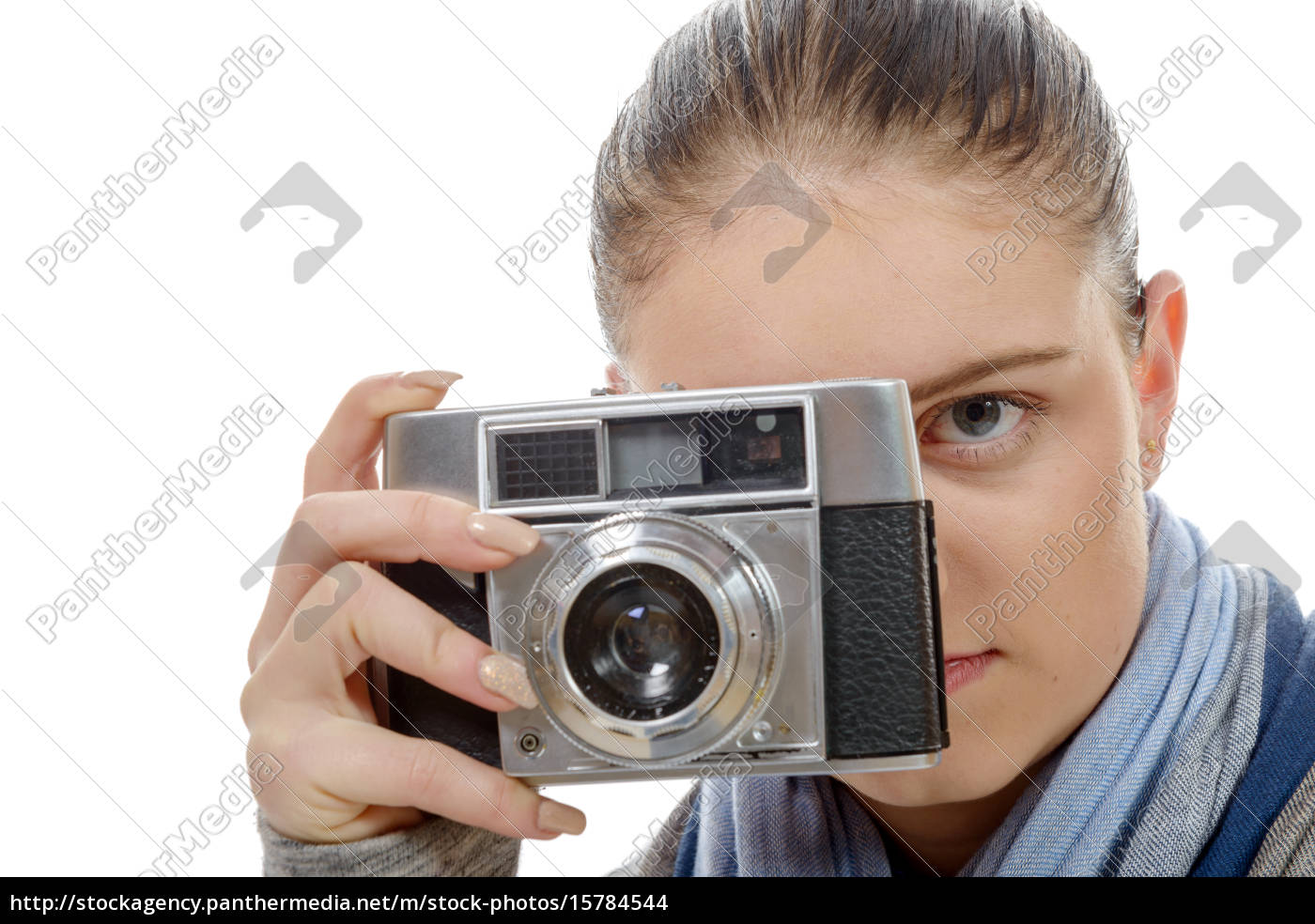 young, photographer, woman, with, a, vintage - 15784544