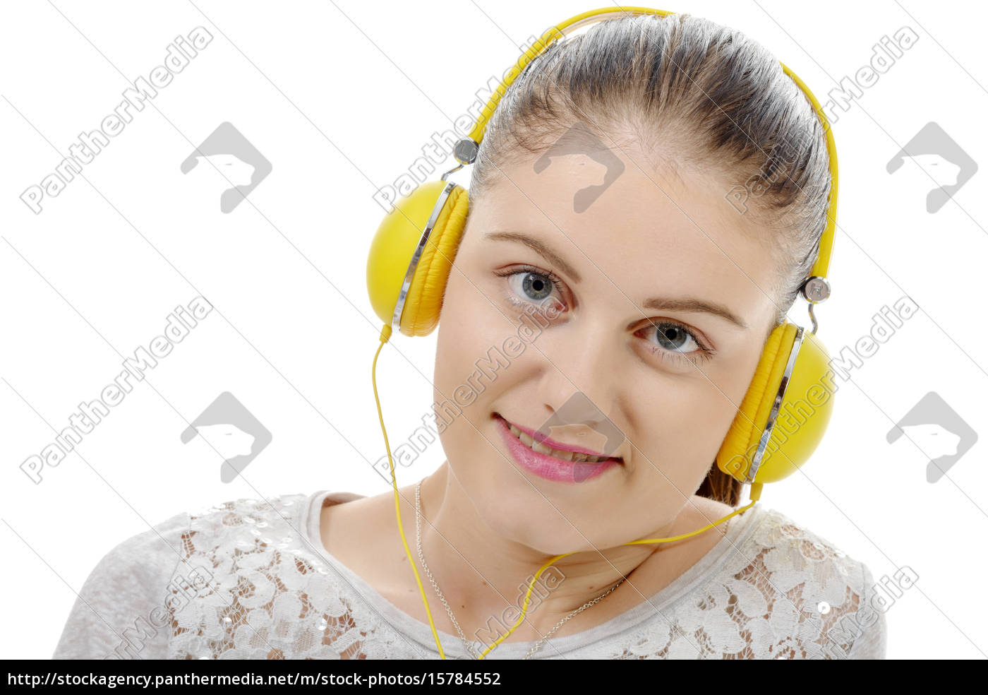 young, woman, listening, to, music, with - 15784552