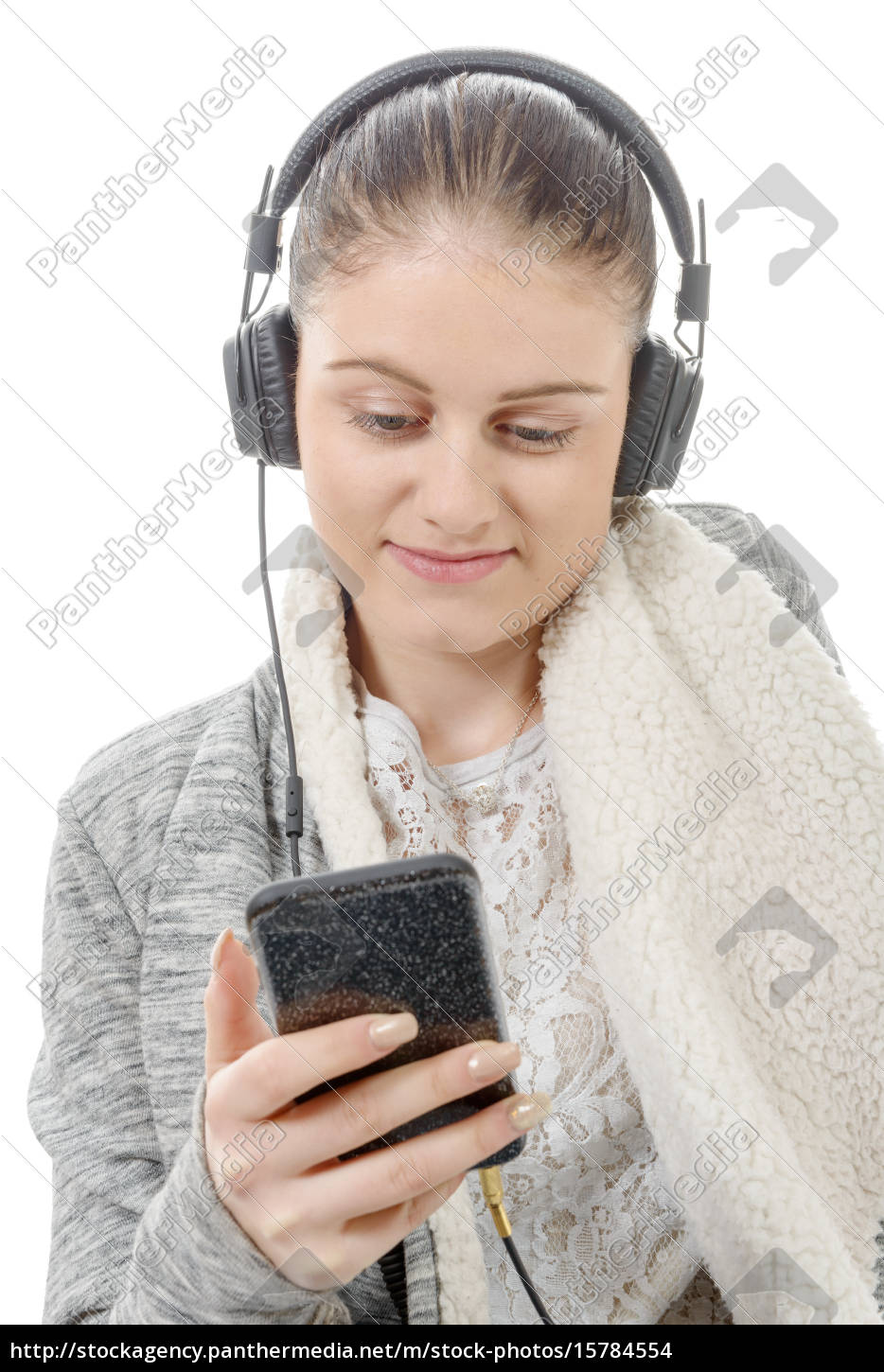 young, woman, listening, to, music, with - 15784554
