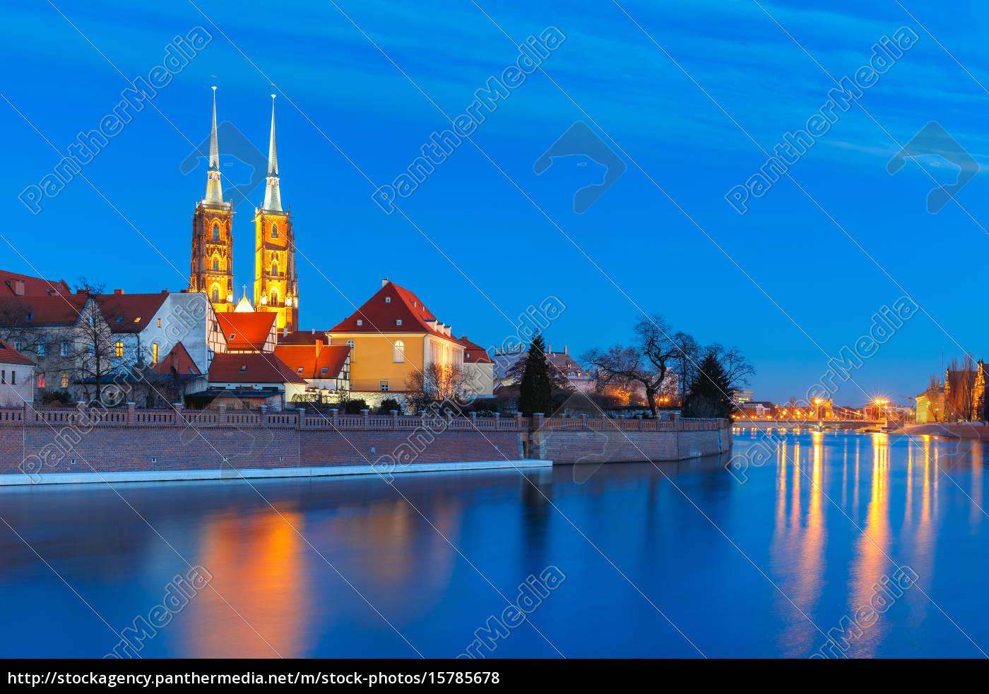 cathedral, island, at, night, in, wroclaw, - 15785678